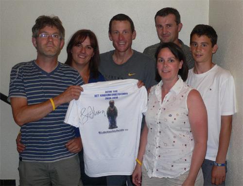 Ontmoeting Lance Armstrong tijdens Tour 2009 te Sion